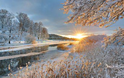 Hình nền thiên nhiên với phong cảnh mùa đông thơ mộng đầy lãng mạn