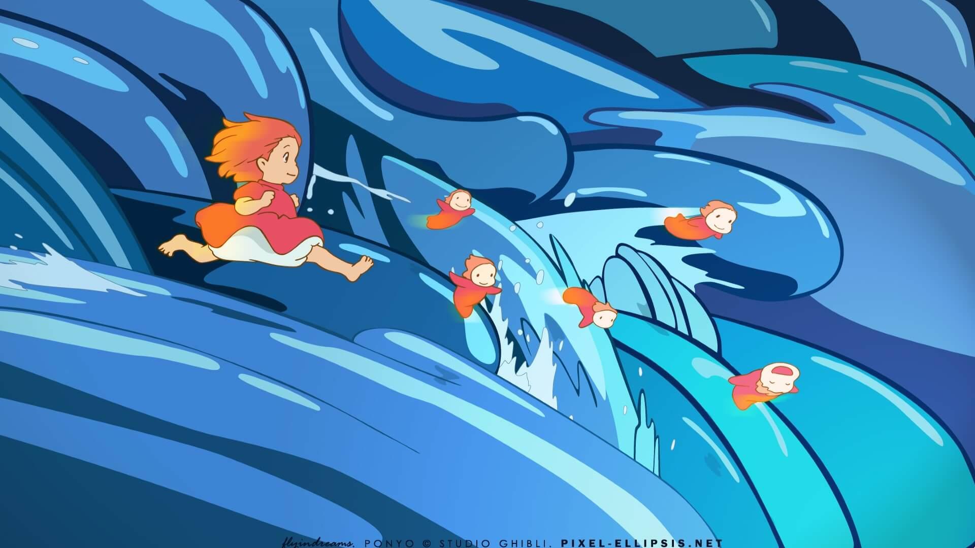 hình nền hoạt hình cô pé người cá ponyo-6